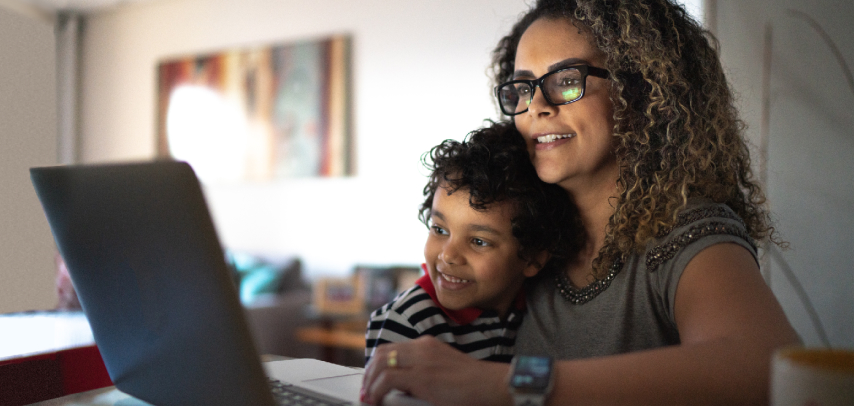 Mom and son on a laptop